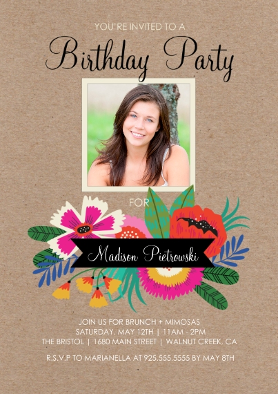 Birthday Party Invites 5x7 Cards, Standard Cardstock 85lb, Card & Stationery -Birthday Flowers