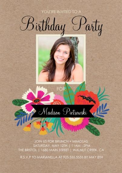 Birthday Party Invites 5x7 Cards, Premium Cardstock 120lb with Elegant Corners, Card & Stationery -Birthday Flowers