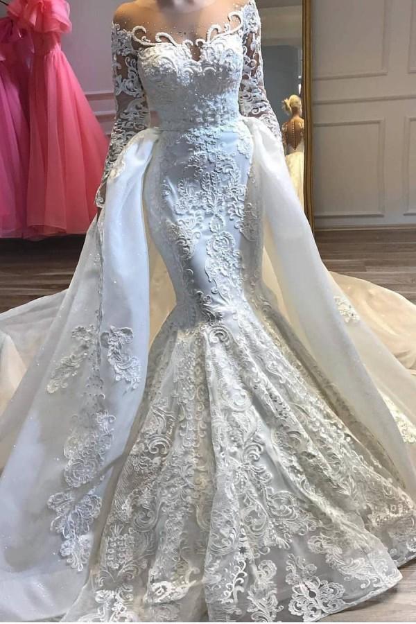 Charmantes robes de mariee mariage sirene appliques en dentelle avec train detachable