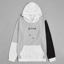Men Contrast Panel Letter Graphic Drawstring Hoodie
