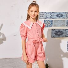 Girls Lace Panel Puff Sleeve Rolled Hem Belted Romper