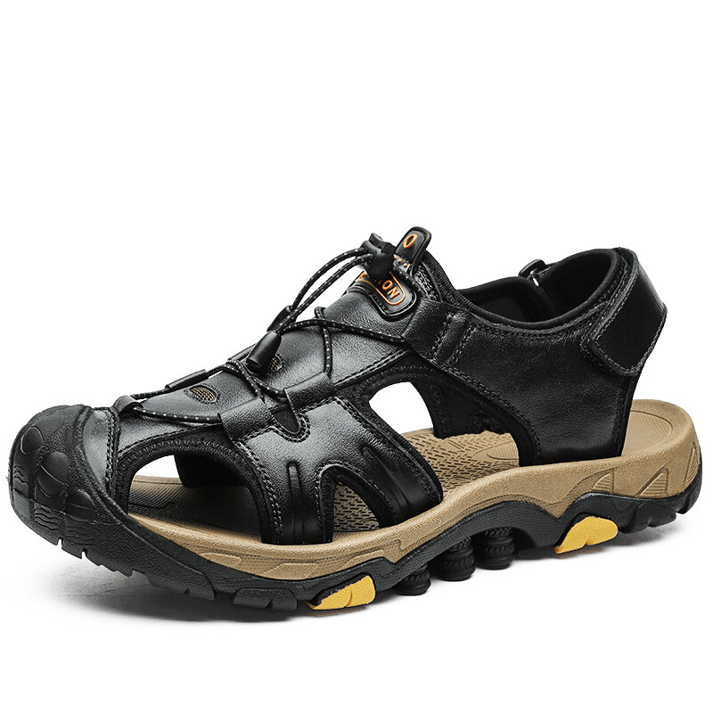 Men Anti-collision Toe Outdoor Quick Release Hiking Leather Sandals
