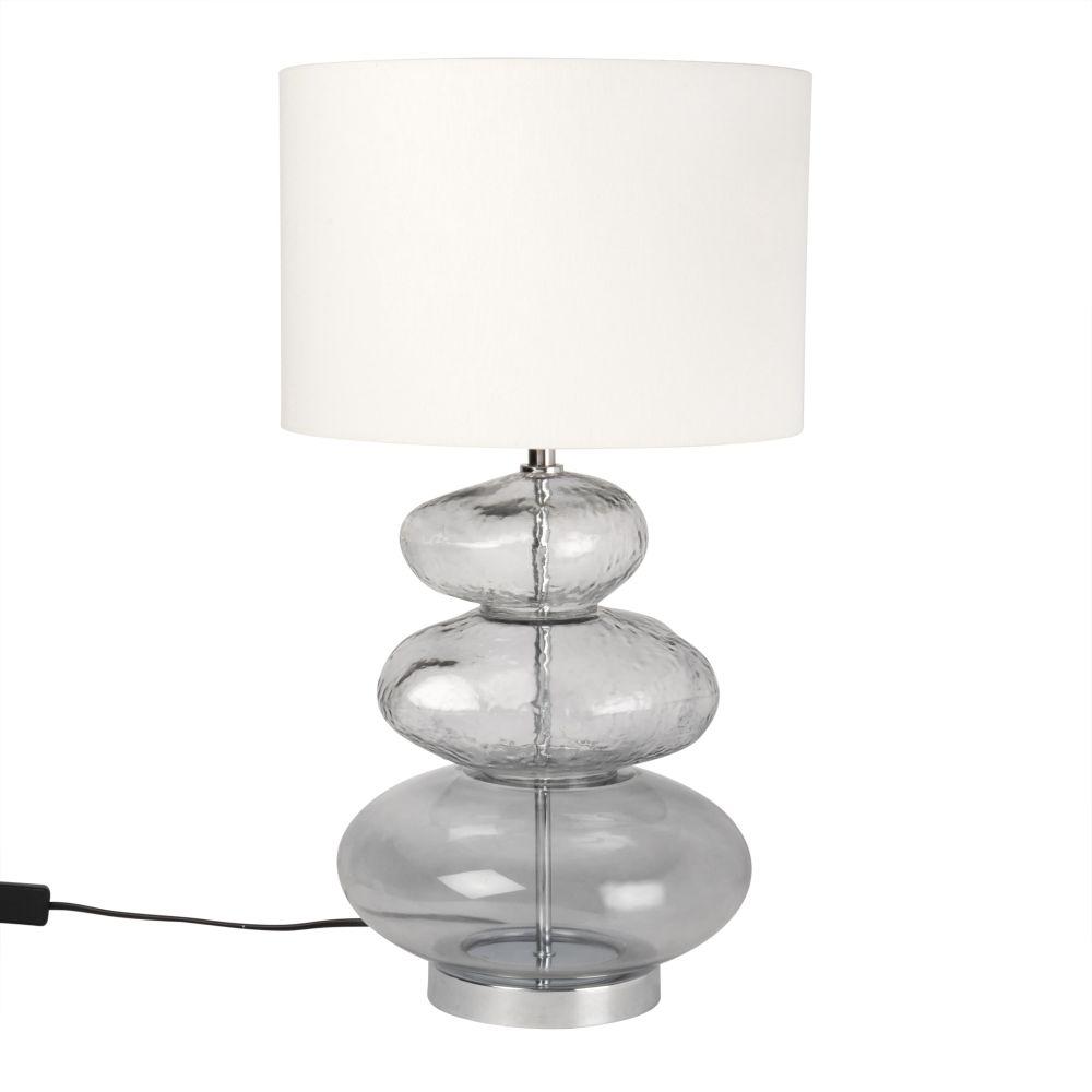 Lampe Kiesel aus Glas, grauer Lampenschirm
