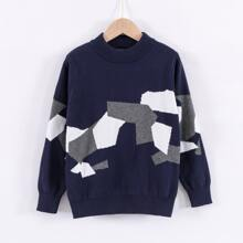 Boys Geo Pattern Colorblock Sweater