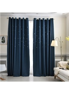 Solid Navy High Quality Star Hollowed-out Custom Grommet Top Curtains