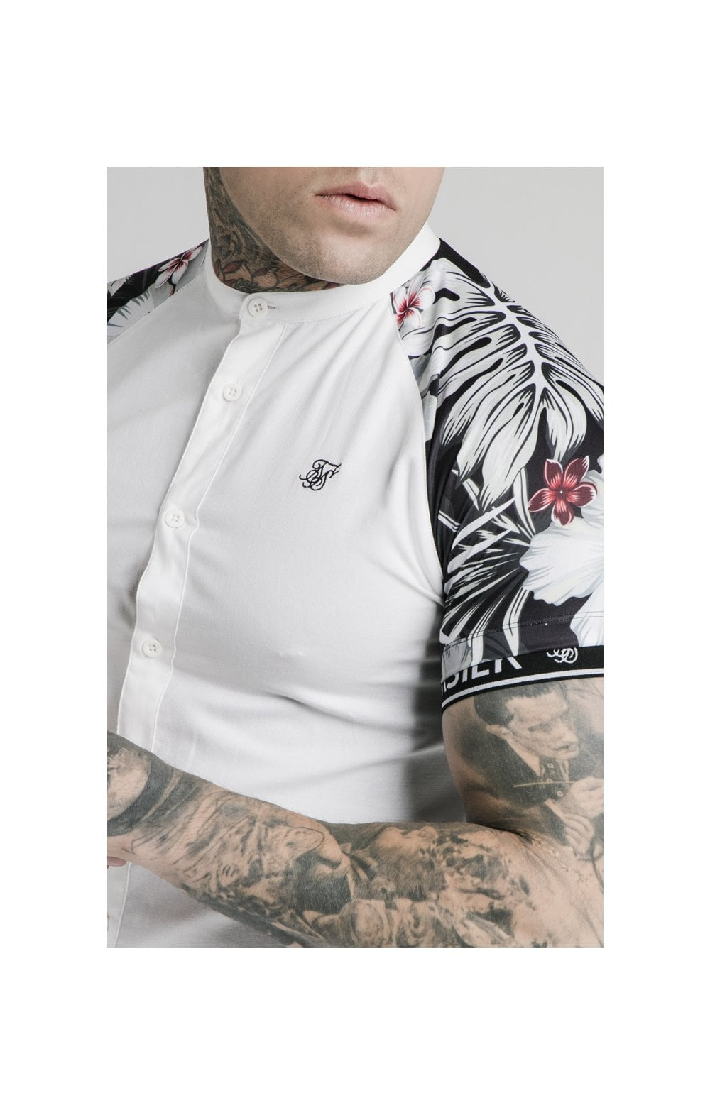 SikSilk S/S Floral Raglan Tech Shirt - White & Floral MEN SIZES TOP: Medium