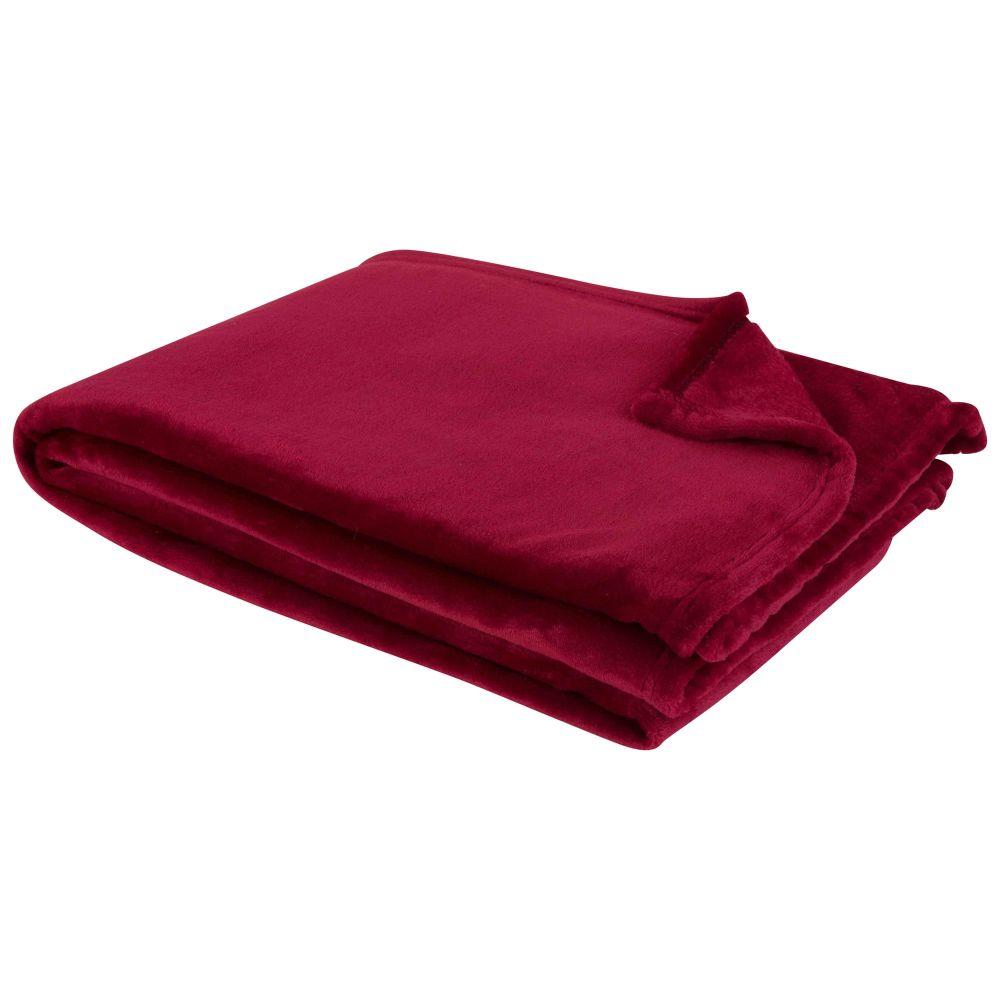 Decke aus Kunstfell, kirschrot 130x180
