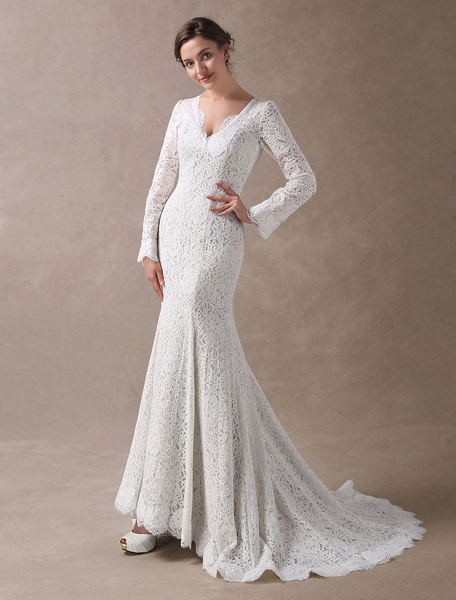 Milanoo Lace Wedding Dresses Mermaid Long Sleeve Bridal Dress Ivory V Neck Backless Wedding Gowns With Train
