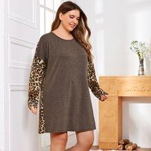 Nachtkleid mit Kontrast, Leopard Muster und sehr tief angesetzter Schulterpartie