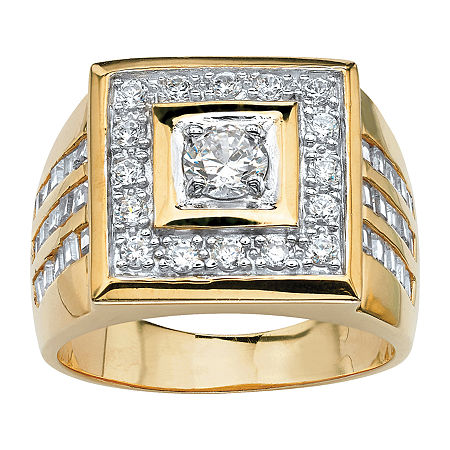 Mens 2 1/5 CT. T.W. White Cubic Zirconia 14K Gold Over Brass Round Fashion Ring, 10 , No Color Family