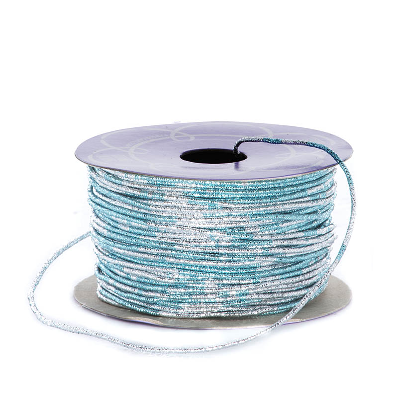 Metal Sparkle 1.5mm X 50 Yards Light Blue/Silver Variegated Metallic Cord by Ribbons.com