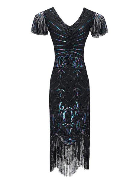 Milanoo Disfraz Halloween Vestidos años 20 azul Charleston disfraz fibra de poliester Disfraces Retro de poliester para baile para adultos con vestido