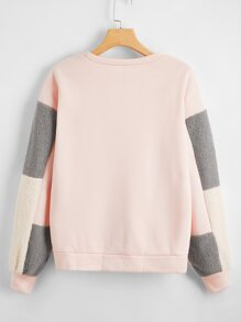 Drop Shoulder Colorblock Sherpa Insert Sweatshirt