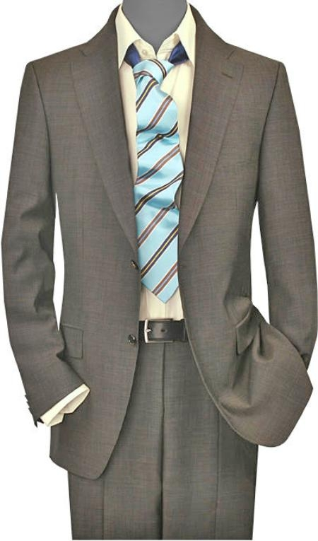 Mens 2 Button Vented Taupe Sharkskin No Pleats Suit