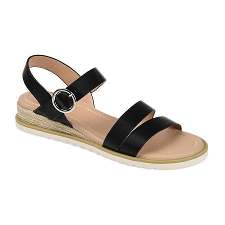 Journee Collection Womens Nikki Wedge Sandals, 8 Medium, Black