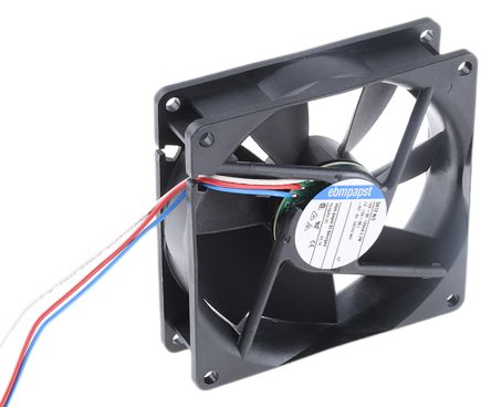 ebm-papst , 12 V dc, DC Axial Fan, 92 x 92 x 25mm, 84m³/h, 2.2W