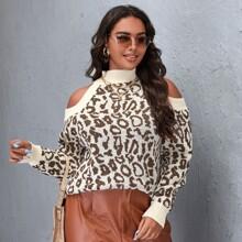 Plus Cold Shoulder Leopard Sweater