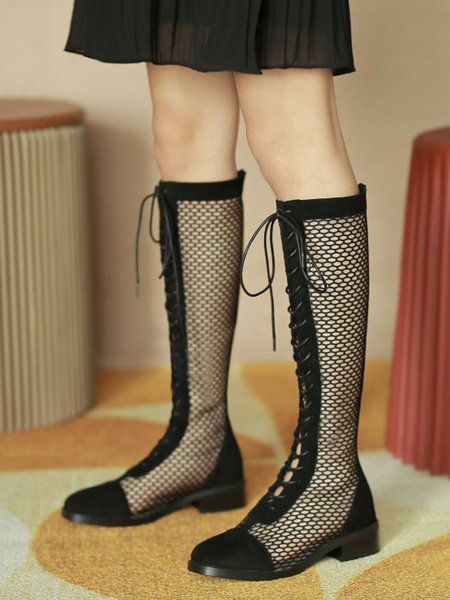 Milanoo Black Summer Boots Women Round Toe Lace Up Knee High Boots
