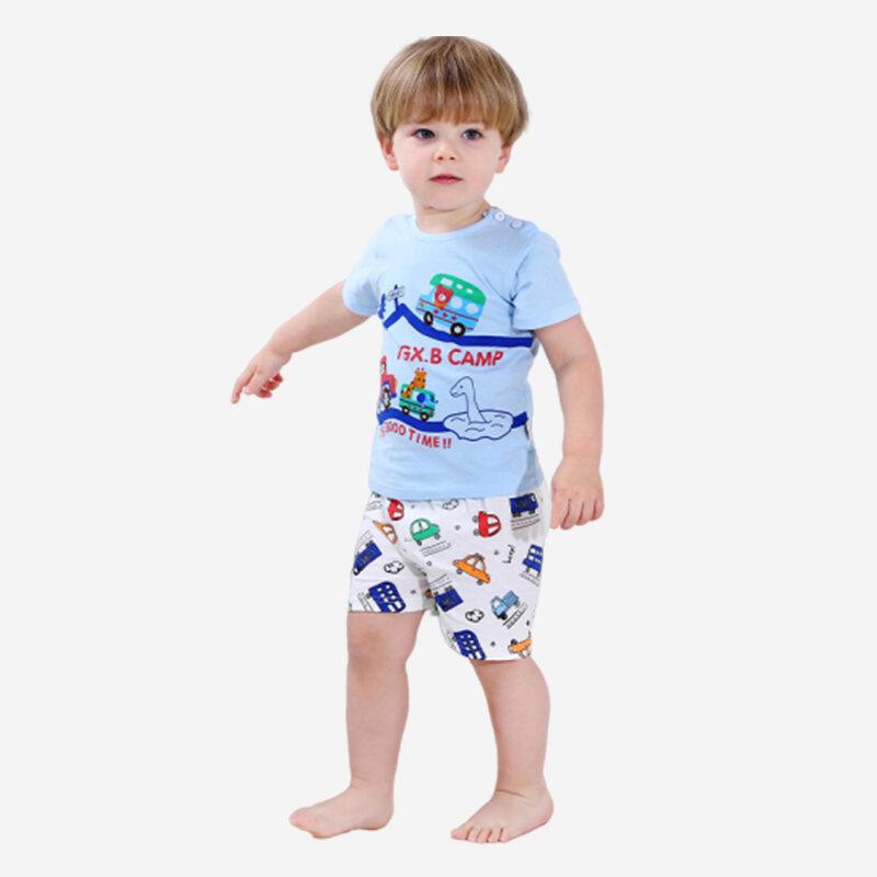 Boy's Cartoon Cars Print Short Sleeves Pajama Casual Clothing Set For 1-5Y