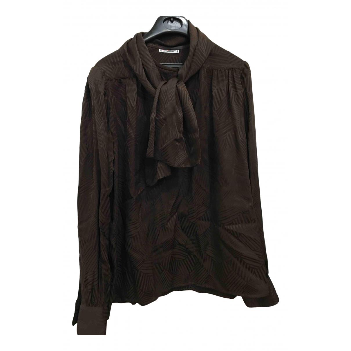 Yves Saint Laurent - Top   pour femme en soie - marron