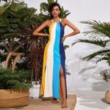Vestido de color combinado bajo con abertura M con cordon trasero