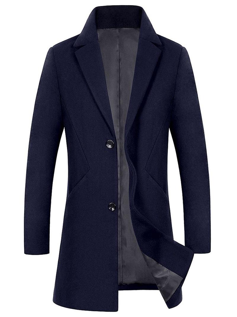 Ericdress Slim Plain Single-Breasted Mens Winter Woolen Coat