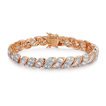 18K Rose Gold Over Sterling Silver Cubic Zirconia 7-8
