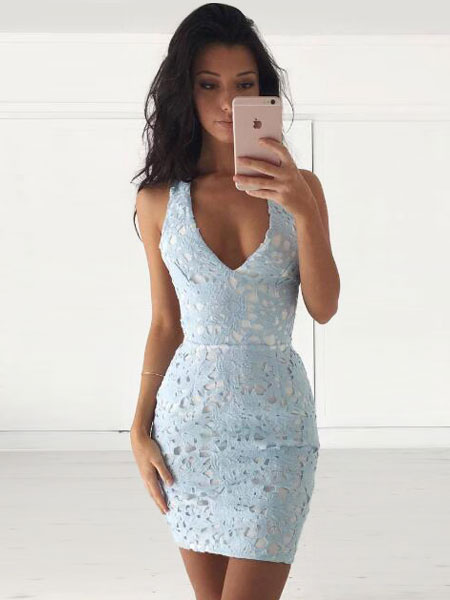 Milanoo Summer Lace Dress Light Sky Blue V Neck Sleeveless Backless Women's Bodycon Dresses