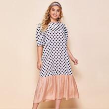 Plus Puff Sleeve Contrast Hem Polka Dot Dress