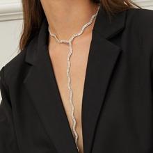 Rhinestone Design Lariat Necklace 1pc