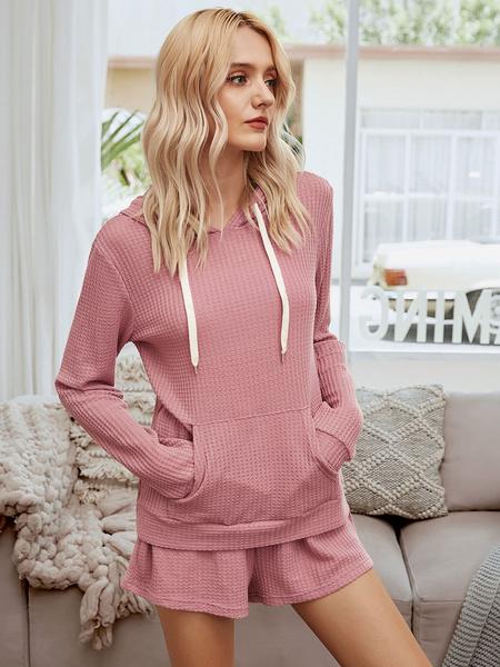 Milanoo Women\'s Loungewear 2-Piece Pink Long Sleeve Hooded Cotton Fibers Home Wear