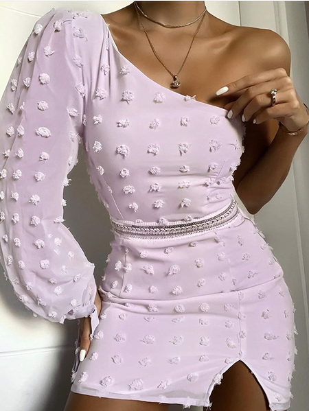 Yoins Purple Split Design One Shoulder Long Sleeves Dress
