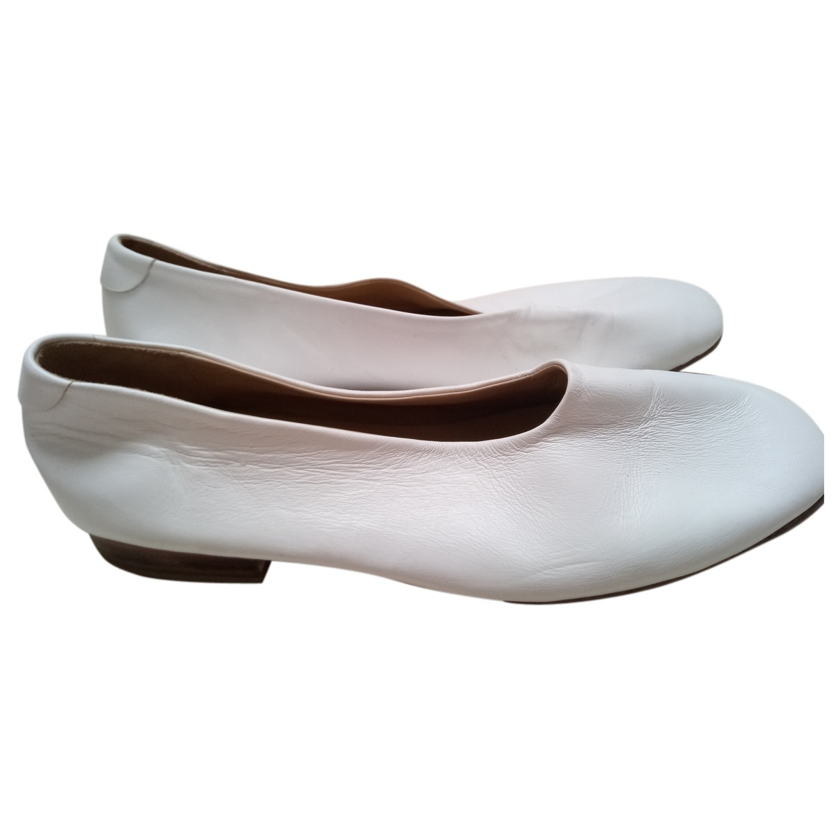 Cos N White Leather Ballet flats for Women 38 EU