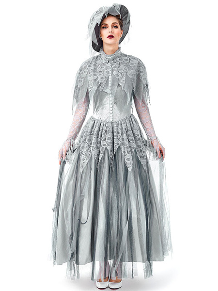 Milanoo Bride Carnival Costumes Grey Women\s Skeleton Gothic Layered Hat Polyester Carnival Dress