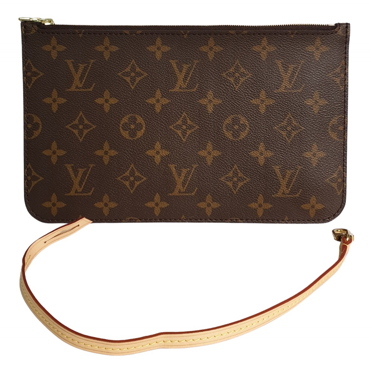 Louis Vuitton Neverfull Clutch in  Braun Leinen