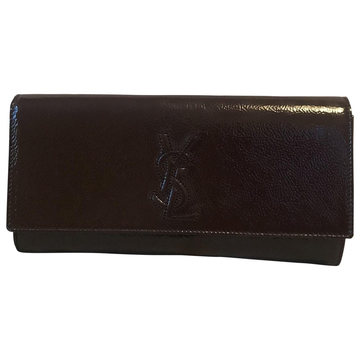 Yves Saint Laurent Belle de Jour Burgundy Patent leather Clutch bag for Women \N