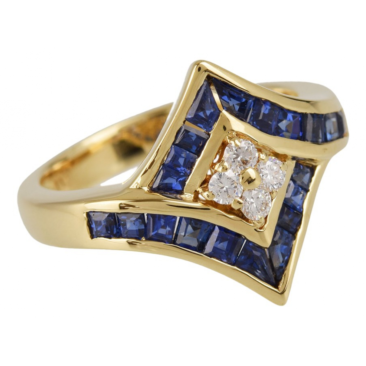 Non Signé / Unsigned \N Blue Yellow gold ring for Women 52 EU
