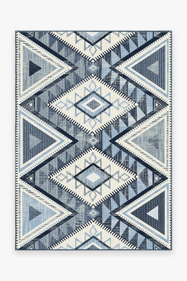 Washable Rug Cover   Santa Fe Blue Rug   Stain-Resistant   Ruggable   5'x7'