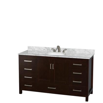 WCS141460SESCMUNOMXX 60 in. Single Bathroom Vanity in Espresso  White Carrera Marble Countertop  Undermount Oval Sink  and No