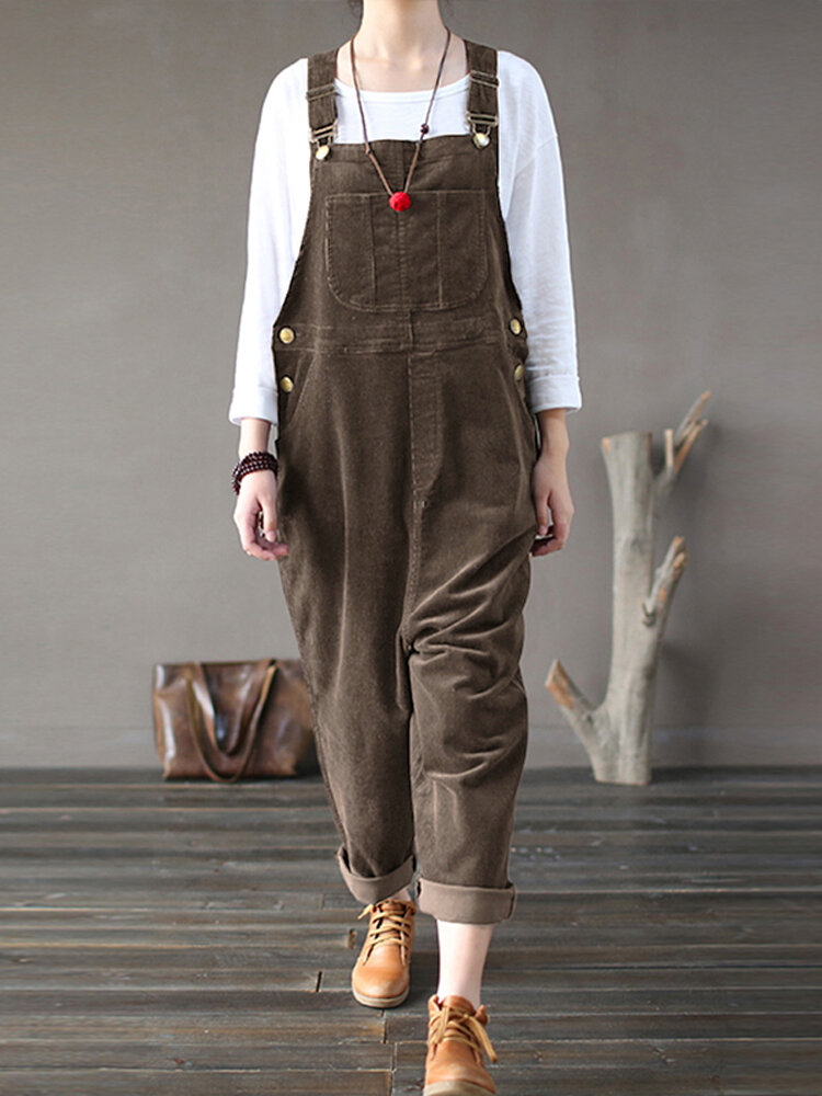 Solid Color Button Pockets Sleeveless Corduroy Jumpsuits