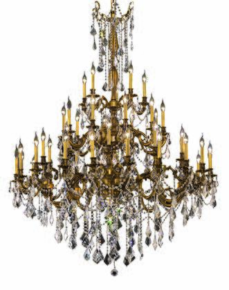 9245G54FG/EC 9245 Rosalia Collection Large Hanging Fixture D54in H66in Lt: 30+10+5 French Gold Finish (Elegant Cut