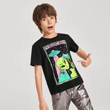 T-Shirt mit Alien und Buchstaben Grafik