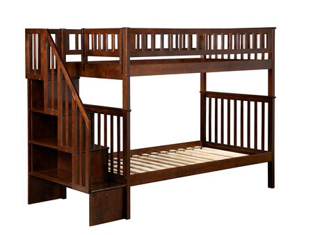 Woodland Collection AB56604 Twin Over Twin Antique Bunk Bed with Staircase Included  Slat Design  Assembled Panels  Kid-Friendly and Hardwood