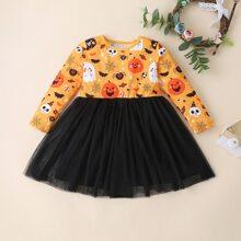 Vestidos para niña pequeña Malla en contraste Halloween Glamour
