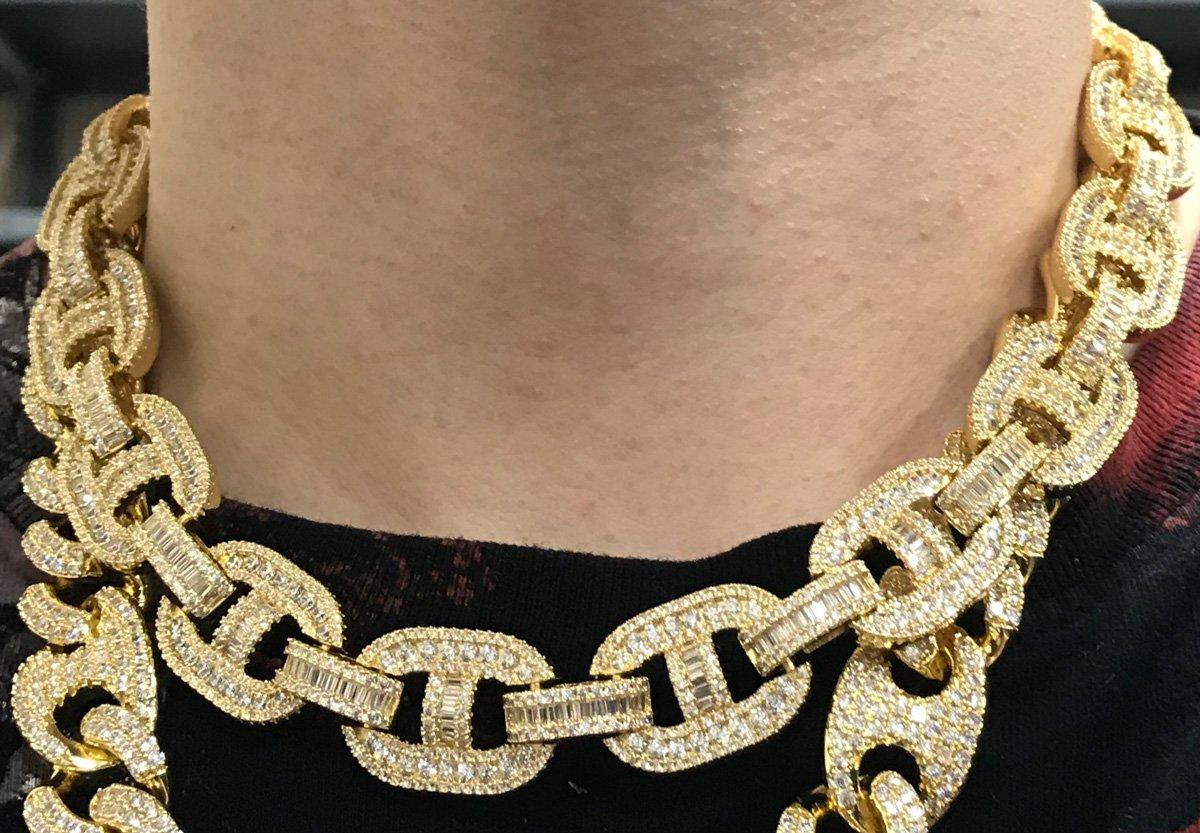Baguette Mariner CZ Bling Bling Chain White / Yellow Gold