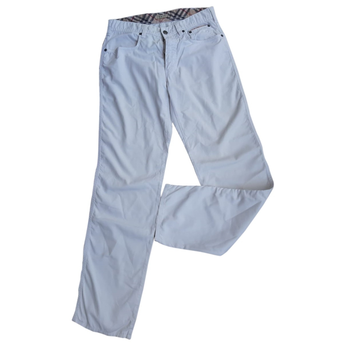 Burberry \N White Cotton Trousers for Men 46 IT