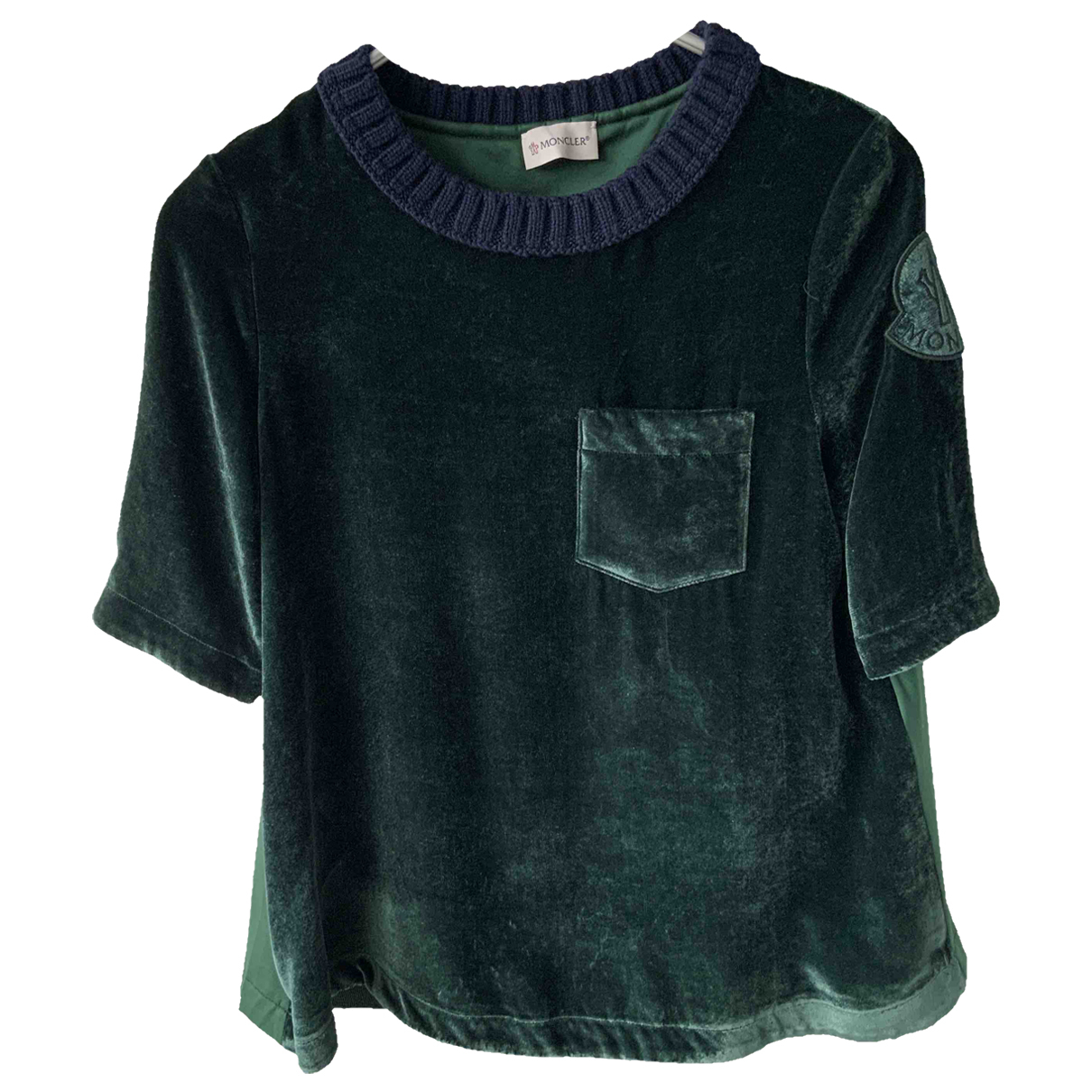 Moncler - Top   pour femme en velours - vert