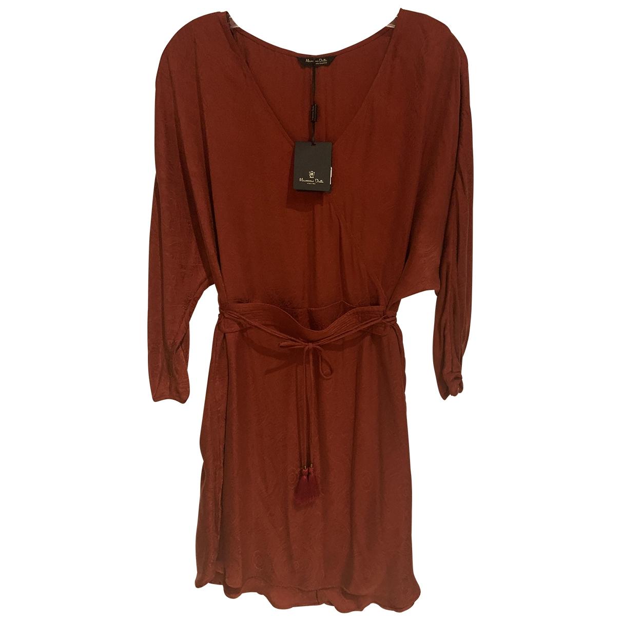 Massimo Dutti \N Kleid in  Bordeauxrot Synthetik