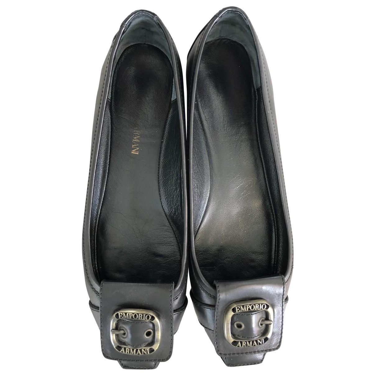 Emporio Armani - Ballerines   pour femme en cuir - noir