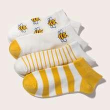 4pairs Bee Pattern Socks